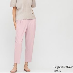 NWT Uniqlo cropped pink crepe pants
